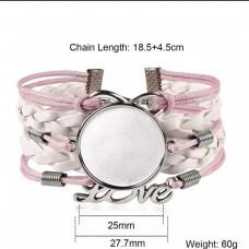 Основа для браслета цвет розово-белый/серебро