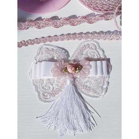 Декоративный бант бело-розовый