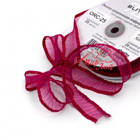 Лента гофрированная из органзы. Цвет бордо. Ширина 25 мм