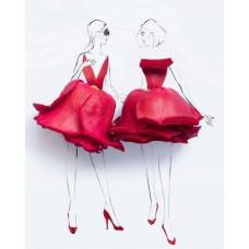 Принт А5 Девочки в цветочных платьях
