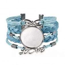 Основа для браслета цвет голубой/серебро