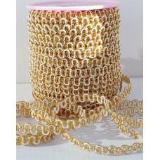 Тесьма декоративная белая с золотом 7мм