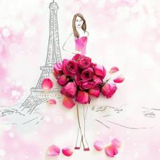 Принт А4 Девушка и Париж