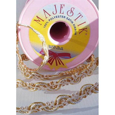 Тесьма декоративная  белая с золотом 12 мм