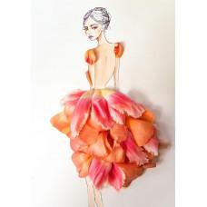Принт А5 Девушка в цветочном платье
