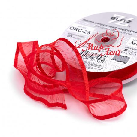 Лента гофрированная из органзы. Цвет красный. Ширина 20 мм