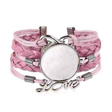 Основа для браслета цвет розовый/серебро